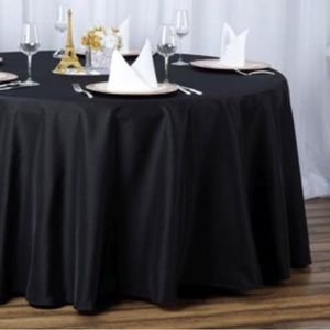 "132"" Premium Black Round Tablecloth"